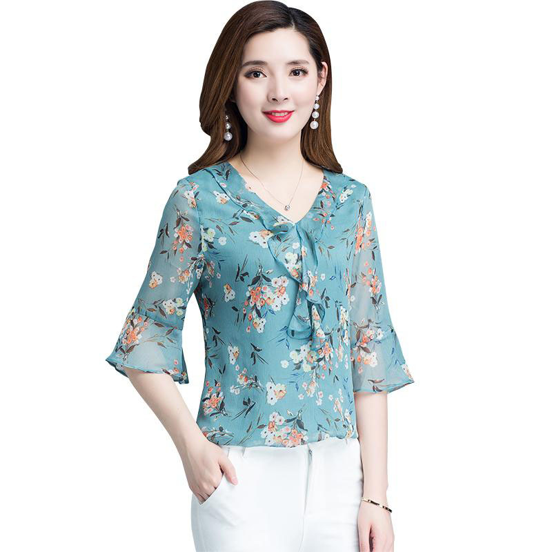 Women Korean Style Spring Summer Chiffon   Blouses     Shirts   Lady Casual Half Flare Sleeve Flower Printed V-Neck Blusas Tops DF2840