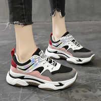 Primavera nova cor misturada tênis femininos moda fundo grosso plataforma sapatos casuais zapatos de mujer senhoras calçados