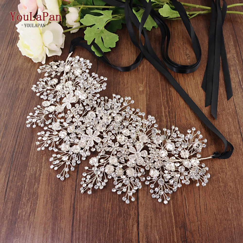 YouLaPan SH240 rhinestone belt bridal jeweled belt for formal dress Sliver diamond belt Alloy flower crystal beaded belts-in Bridal Blets from Weddings & Events