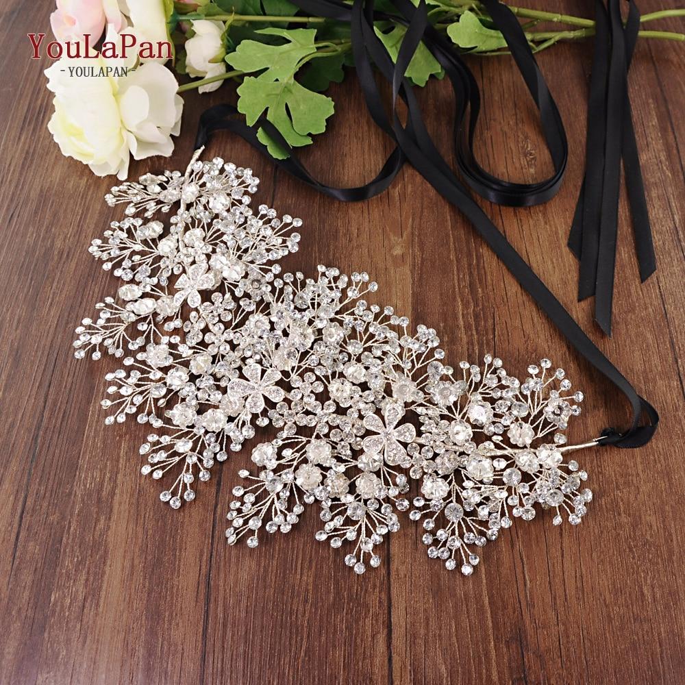 YouLaPan SH240 Rhinestone Belt Bridal Jeweled Belt For Formal Dress Sliver Diamond Belt Alloy Flower Crystal Beaded Belts