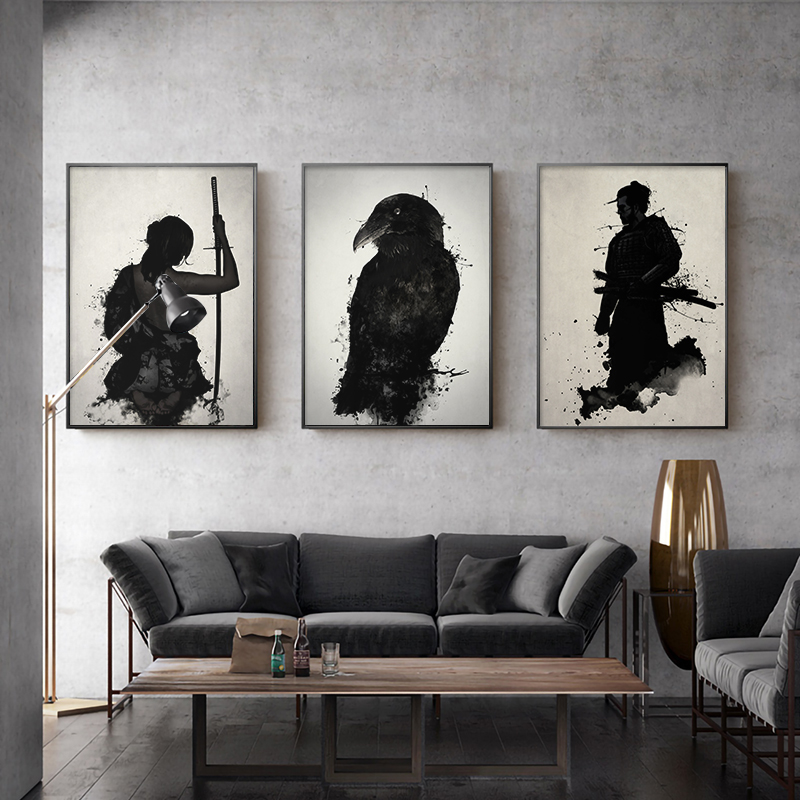 Japanese Ink Canvas Art Print Poster Samurai Black White Wall Art Paintings for Living Room Decoration Home Decor