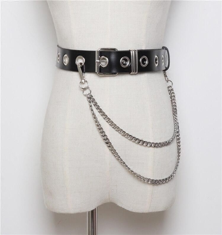 Fashion Punk Rock Small Harajuku Waist Belts Leather Silver Punk Harness Waist Metal Tassel KeyChain Punk Women Belt 04