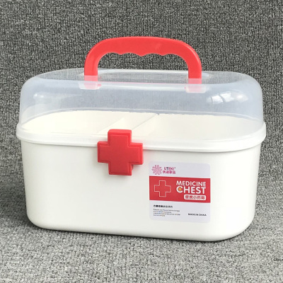 Large Medicine Box First Aid Kit Medical Box Double Layer Medicine Box Hand Chest For Household Indoor
