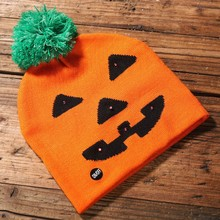Hats  Kids Adult Cap color Halloween Room Decoration LED light knit hat Party Props