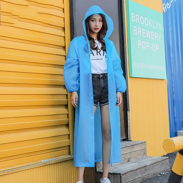 Rain Coat EVA Rain Poncho for Women and Men Emergency Rain Gear Jacket for Theme Park Hiking Camping CLH@8 2