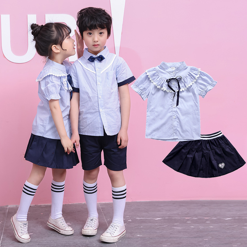New Style Kindergarten Suit Summer Primary School STUDENT'S College Style School Uniform Men And Women Child Choral Service CHIL