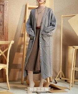 Женский длинный кардиган из чистого кашемира или шерсти, 100% ручная вязка, оптовая и розничная продажа