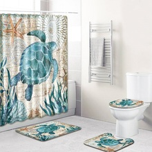 4pcs/set  Bathroom Printed Pattern Shower Curtain Pedestal Rug Lid Toilet Cover Mat Bath Set Curtains with 12 Hooks
