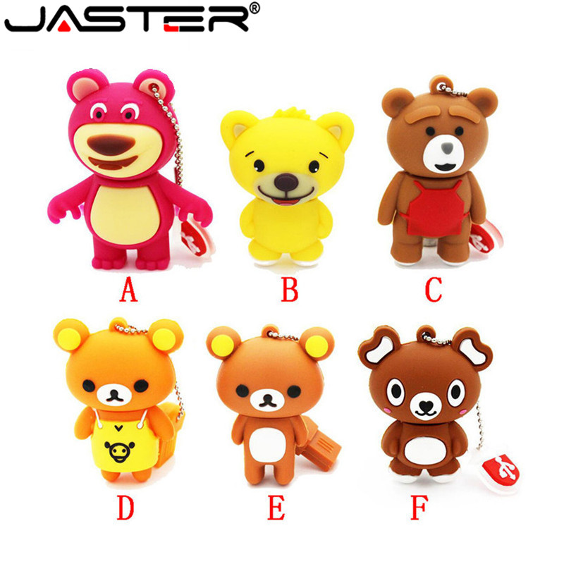 JASTER Cartoon Bear Model Usb Flash Drive Animal Pendrive 4G 16GB 32GB 64GB Memory Stick Flash Card U Disk Lovely Gifts Keychain