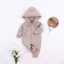 Thick Warm Infant Newborn Baby Boy Girl Knitted Sweater Jumpsuit Hooded Kid Toddler Outerwear Baby Rompers Winter Clothes стоимость