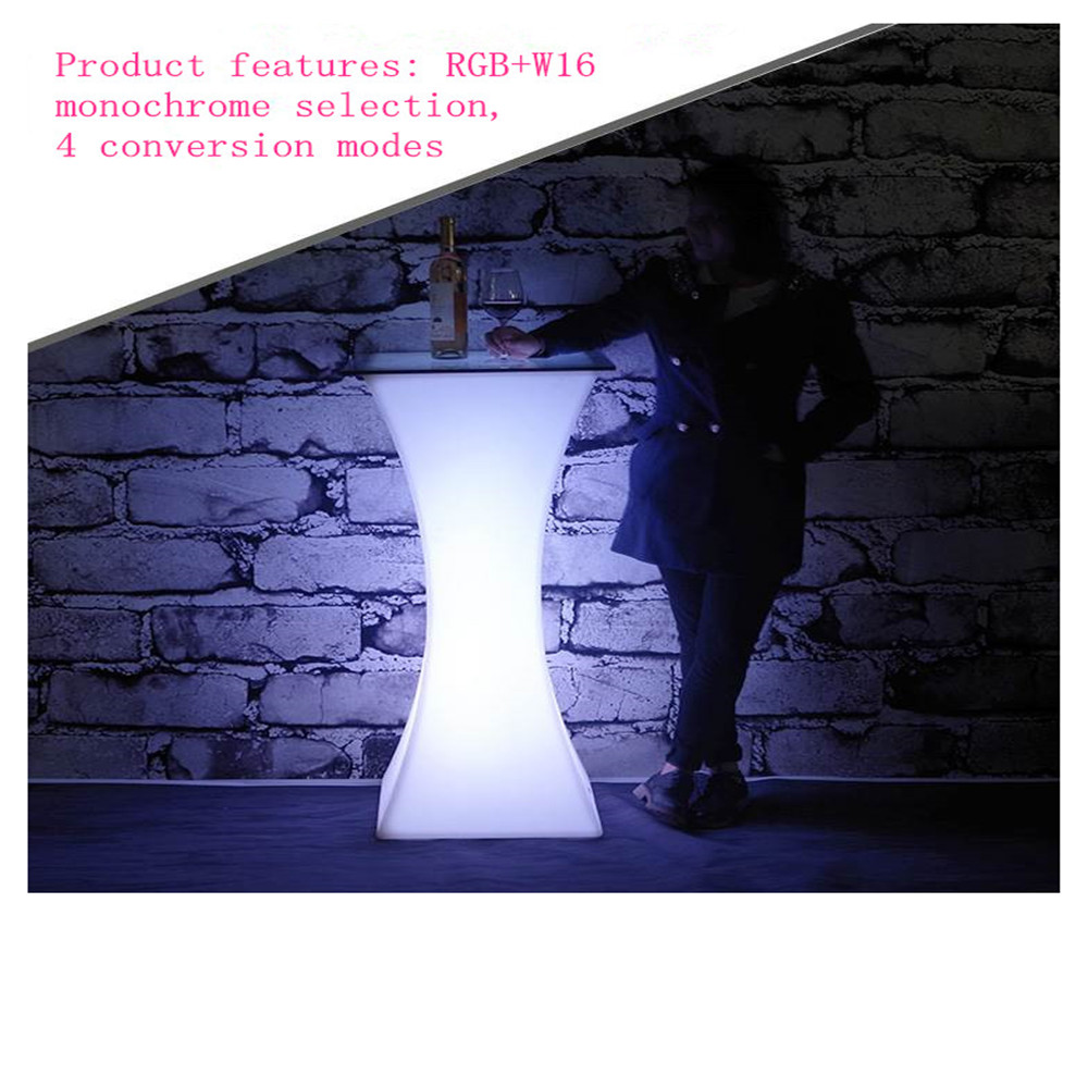 2019 Fashion LED Lighted Up Bar Furniture Rechargeable High End Cocktail Table D60*H110cm Bar Coffee Table Cocktail Table