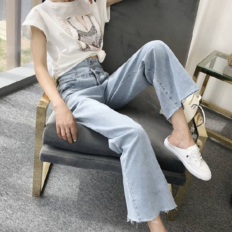 Women's Pants 2020 Autumn New High Waist Wide Leg Jeans Women's Korean Style Trousers Thin Drooping Straight Denim Pants