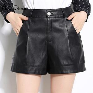 Hot 2020 Spring Autumn Women Shorts Korea Style Plus Size Sexy Short Pants Mid Waist PU Leather Shorts Black Casual OL Pants