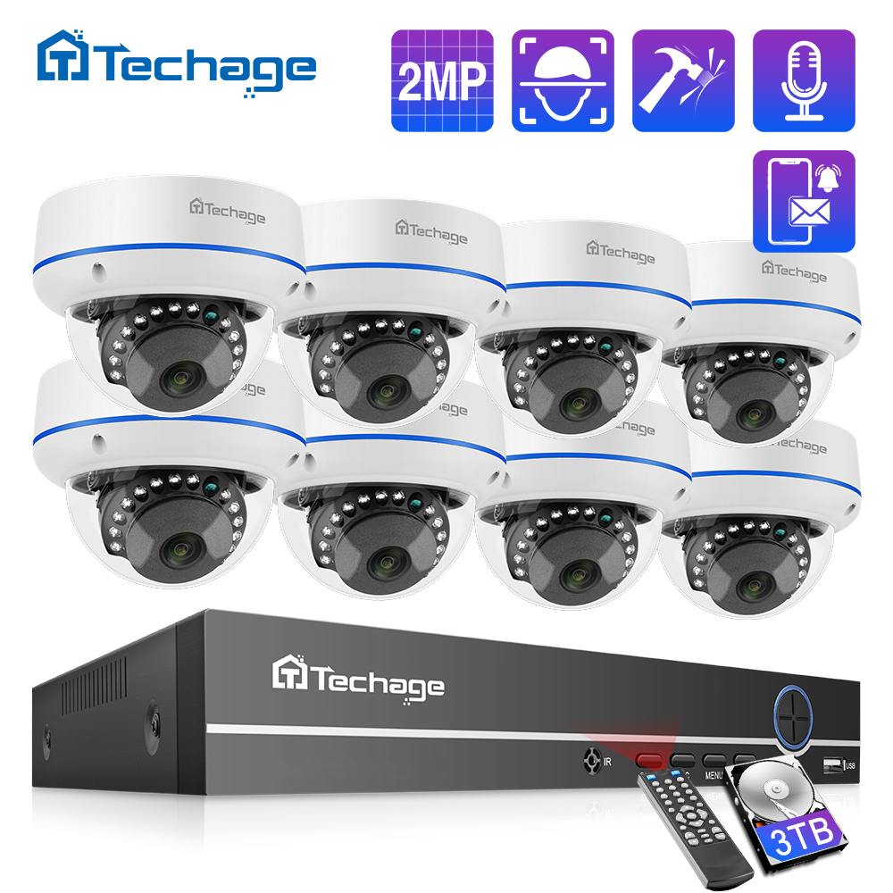 Комплект видеорегистратора Techage H.265, 8 каналов, 1080P, POE, 2 МП