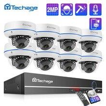 Techage-sistema de seguridad CCTV para el hogar, grabador de Audio de 2MP, cámara IP de domo interior, videovigilancia, H.265, 8 canales, 1080P, NVR POE