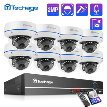 Techage H.265 8CH 1080P POE NVR Kit CCTV Home Security System 2MP Audio Recorder Indoor Dome IP Camera Video Surveillance Set - discount item  50% OFF Video Surveillance