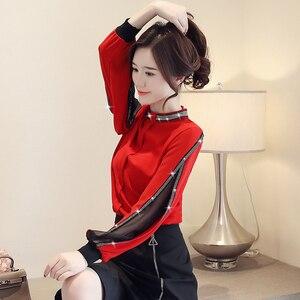 Chiffon Frauen Bluse Diamanten Neue 2020 Sexy Casual aushöhlen Mesh koreanische Shirt Elegante Schlanke Stehkragen Frauen Tops blusa h34D