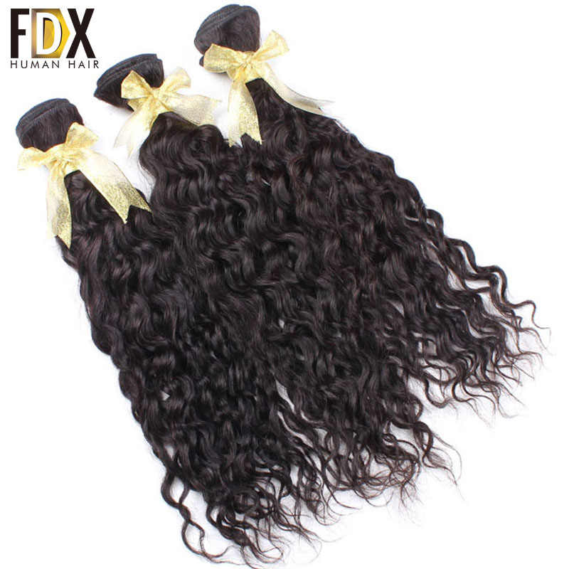 FDX indian water wave hair 1/3/4pcs human hair weave 28 30 inch bundles deal natural black color Long Hair extensions Remy