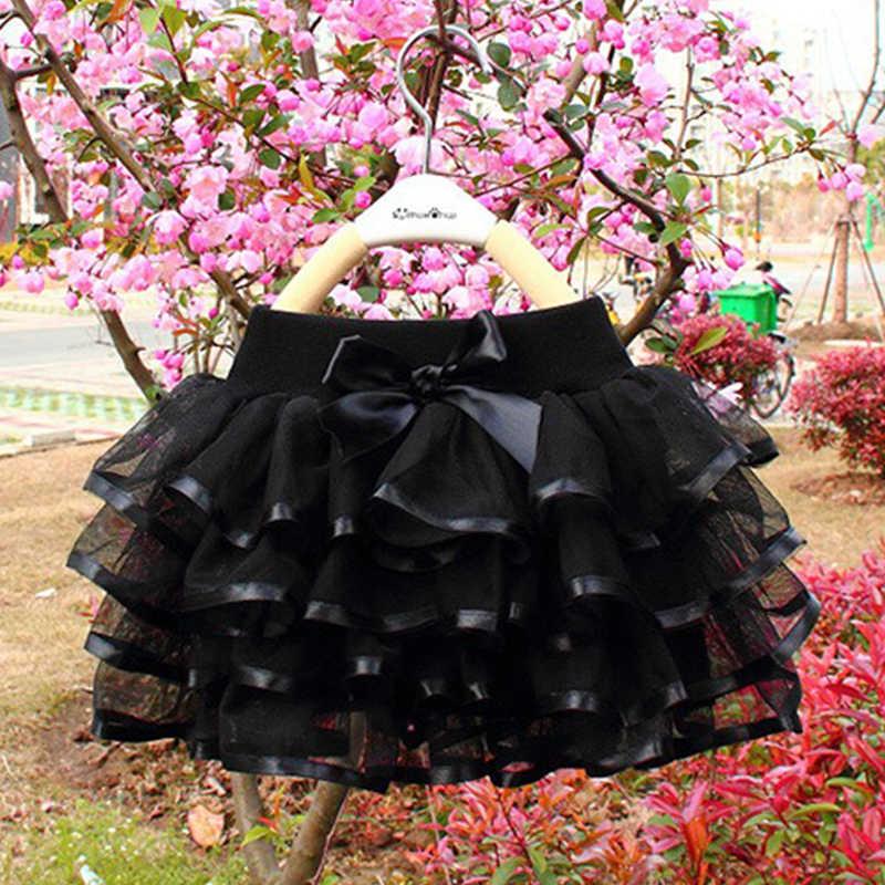 สาวกระโปรง Tutu เค้ก Tutu Pettiskirt มินิกระโปรงวันเกิดเจ้าหญิงชุดเด็กเสื้อผ้าเด็ก 4 ชั้น Tulle กระโปรง
