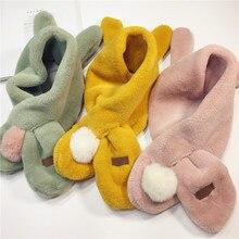 Флисовый зимний теплый шарф для мальчиков и девочек; осенний Детский шарф с воротником; теплый детский шарф с кроличьими ушками