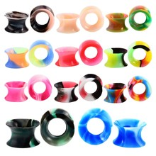11 Pair Mixed Colors Ultra-Thin Soft Silicone Double Flared Flexible Flesh Tunnel Plugs Gauges Sets(China)