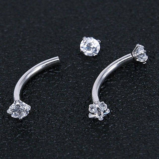 2Pc Titanium Anodized Internally Threaded Prong Top Gem Eyebrow Ring Piercing Zircon Eye Nail Ring Tragus Earring 3