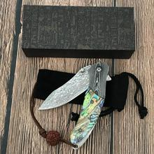 Handmade Forged Damascus Steel Folding Knife Mini Abalone Handle Outdoor Sharp Portable Boutique Knife forged sashimi knife psrk very sharp mini handmade forged damascus steel high quality steel hunting knife edc tools with excellent leather sheat