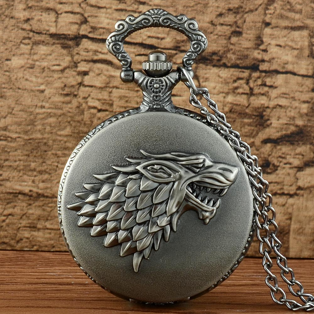 New Arrivals Grey Wolf Game Of Thrones Quartz Pocket Watch Retro Men Women  Pendant Necklace  Jewelry Gifts