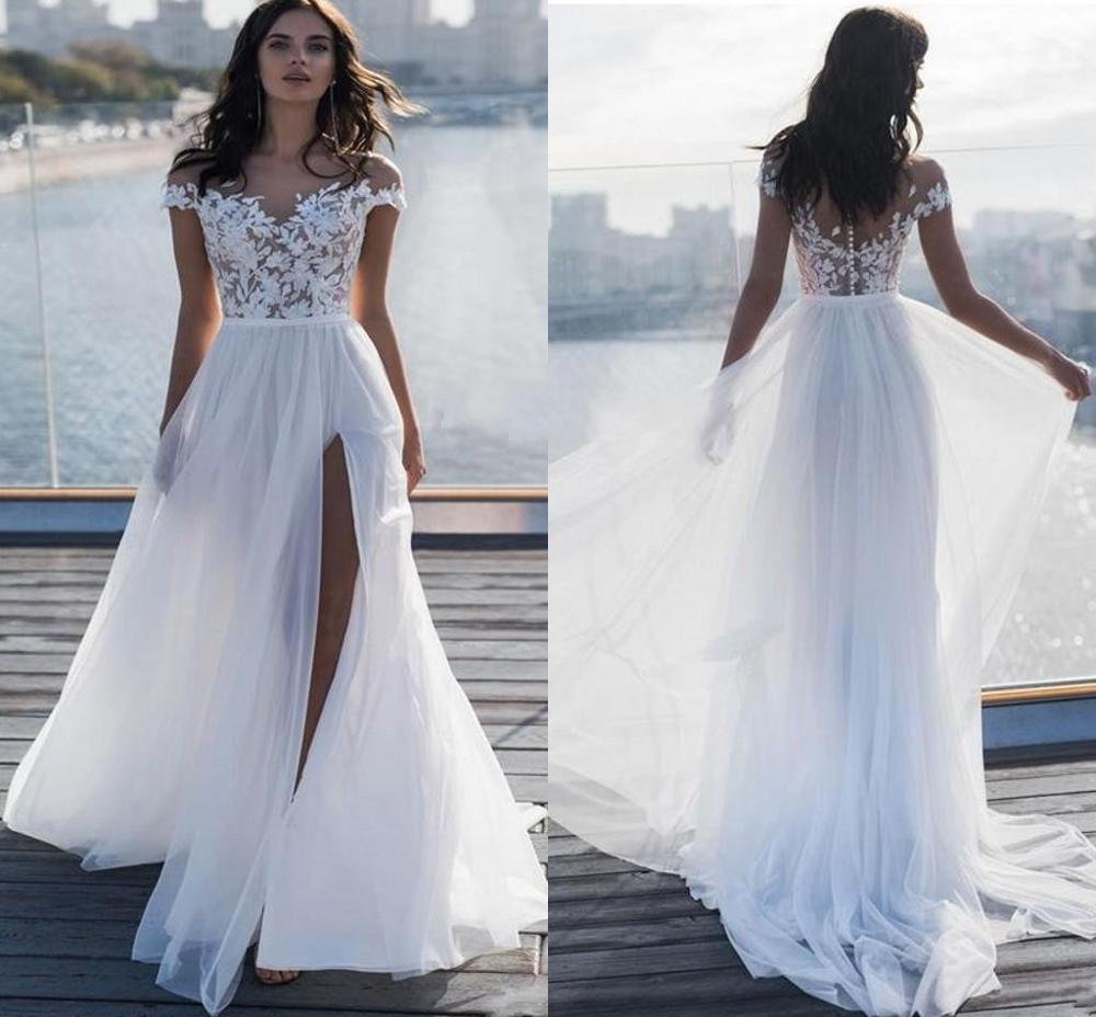 2020 Beach Wedding Dress Off The Shoulder Lace Applique Chiffon A Line Country Garden Bridal Gowns Sexy Vestido De Novia