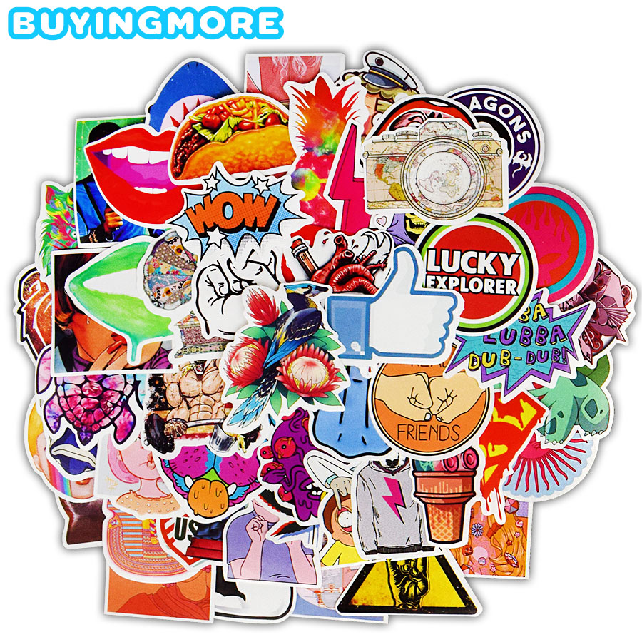 100 PCS Funny Cool Stickers Mixed Style Punk Graffiti Anime Waterproof Sticker For Adults DIY Guitar Laptop Skateboard Stickers