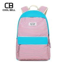 Canvas Waterproof Striped Pink Backpack Kids Bags Children School For Teenager Girls Travel