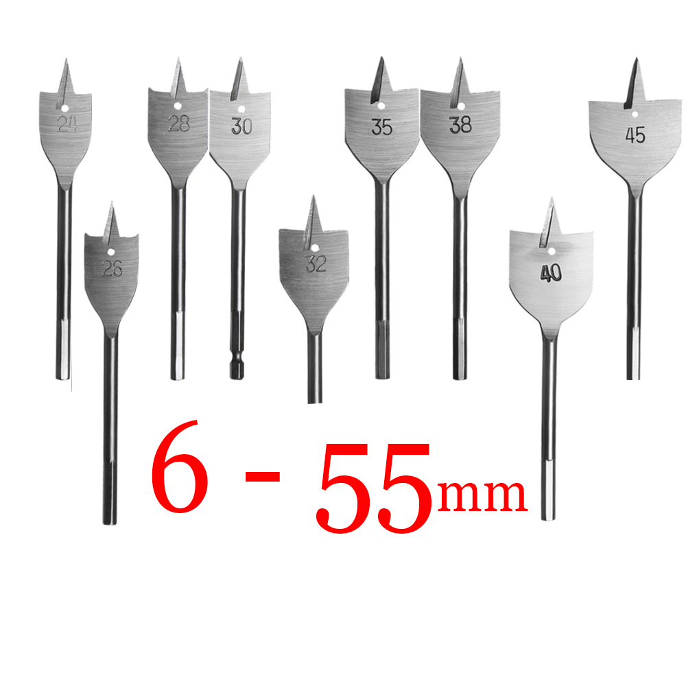 1pcscs 6-55mm Durable Woodworking Tool Sets Flat Drill Long High-carbon Steel Wood Flat Drills Woodworking Spade Drill Bits