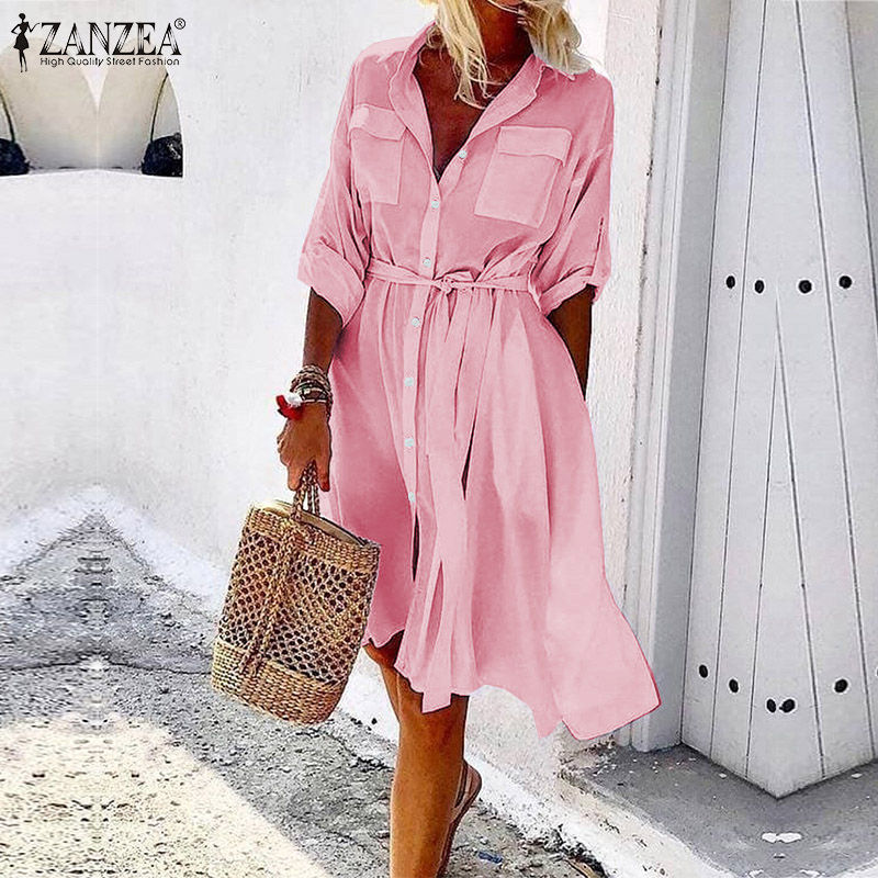 ZANZEA Plus Size Women Summer Sundress Office Lady Work Belted Shirt Dress Womens Casual Buttons Pockets Vestidos Party Dresses