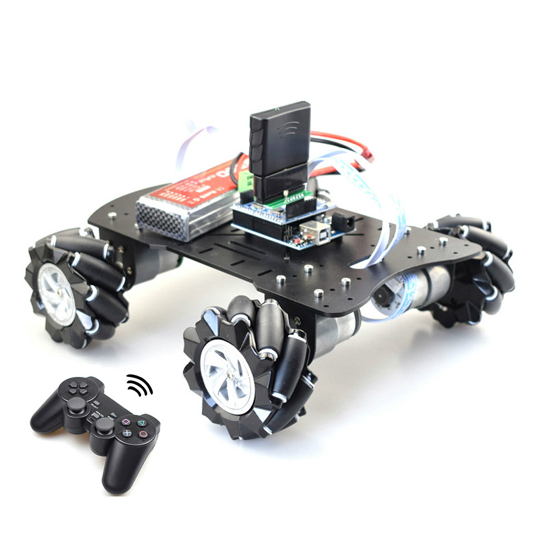 80mm Mecanum Acrylic Platform Omni-Directional Mecanum Wheel Robot Car With For Arduino MEGA Or With STM32 Electronic Control