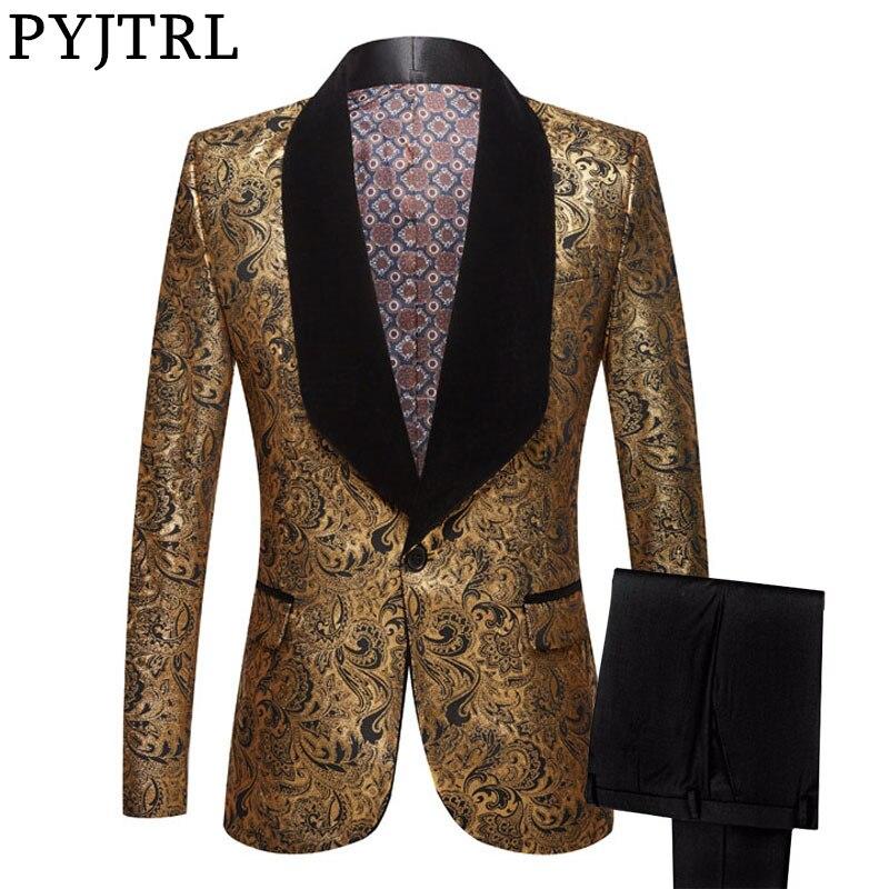 PYJTRL Mens Two-piece Set Wedding Suits With Pants Gold Floral Pattern Prom Tuxedo Singers Costume Suit Latest Coat Pant Designs