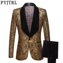 PYJTRL męskie dwuczęściowe zestawy ślubne garnitury ze spodniami złota z kwiatowym wzorem wzór smoking balowy piosenkarki kostium najnowszy garnitur fasony spodni