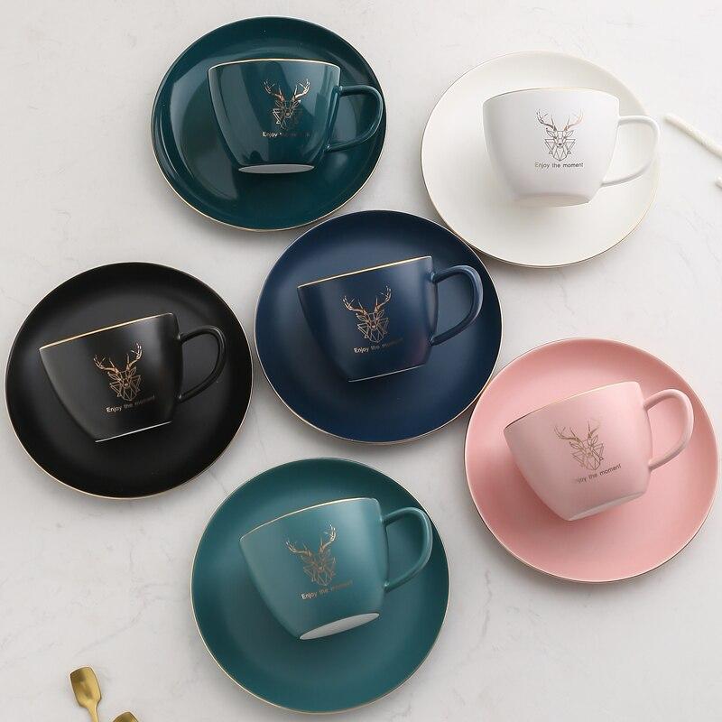Роскошная Золотая оправа, керамическая офисная кофейная чашка и блюдце, набор, молочный чай, кружка на день рождения, подарки для пар, чашка ...