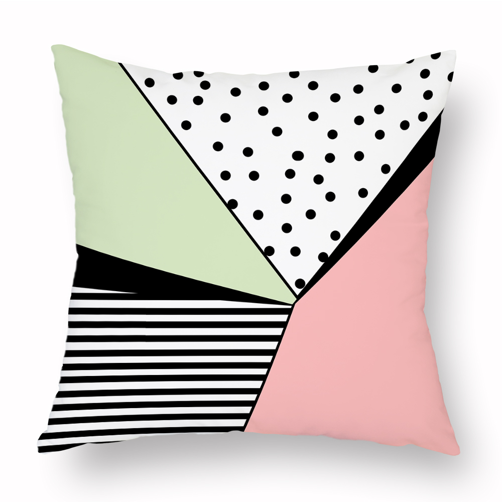 Pink and Green Cushion Cover Geometry Love Point Pattern Decorative Pillowcases for Sofa Bed Living Room Home Fresh Decor Covers