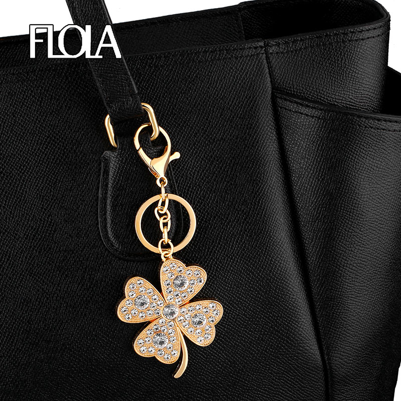 Gold Filled Big Leaf Clover Keychains Pendant Charms Micro Paved Crystal Key Chain Accessories Key Ring Holder Bag Car kcha03