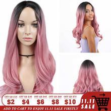 Fave premium longo peruca sintética preto rosa ouro rosa onda do corpo ombre luz marrom loiro cinza parte do meio para preto cosplay feminino