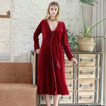 Explosion Gold Velvet Robe Ladies Autumn and Winter Noble Bride Morning Thick Long Womens Home Service Pajamas Wine Red