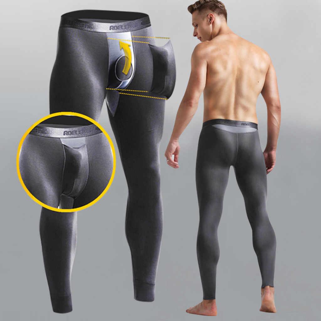 セクシーな圧縮パンツジョガー男性トレーニングフィットネススポーツレギンスジムジョギングストレッチ呼吸熱弾丸分離パンツ