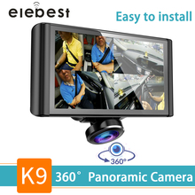 Car DVR Camera Dash cam 360 degree Fisheye Lens  HD 1080P Video Recorder 5 inch Lcd IPS Touch Screen Loop Recording Easy install цена