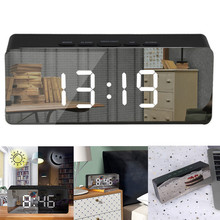 Светодиодный зеркальный будильник, часы, цифровой Повтор, настольные часы, будильник, светильник, электронный, большое время, температурный дисплей, украшение дома M