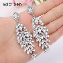Mecresh Crystal Cluster long drop horse Earrings for Women 2020 silver Color shinning Pandent bridal MEH1738