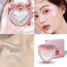 Face Makeup Heart-Shaped Diamond Eye Shadow High-Gloss Powder Cake Brighten Shimmer Pearl Repair Highlighter