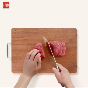 Image 5 - Original Huohou Wood Chopping Block For Meat Fruit Vegetable Bar Kitchen Tools Ebony Wood Thick Cutting Board S L