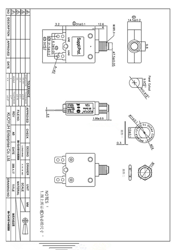 20A Circuit Breaker 98 Series 32VDC 125//250VAC Model 98 Series 20A 32VDC 125//250VAC