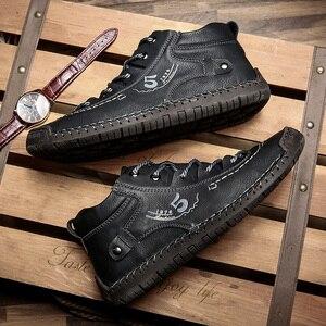 Image 3 - Valstone秋冬メンズスニーカー媒体カットブーツ男性ヴィンテージ革ハンドメイドの靴スニーカーxlサイズ48レトロフロスティブーツ