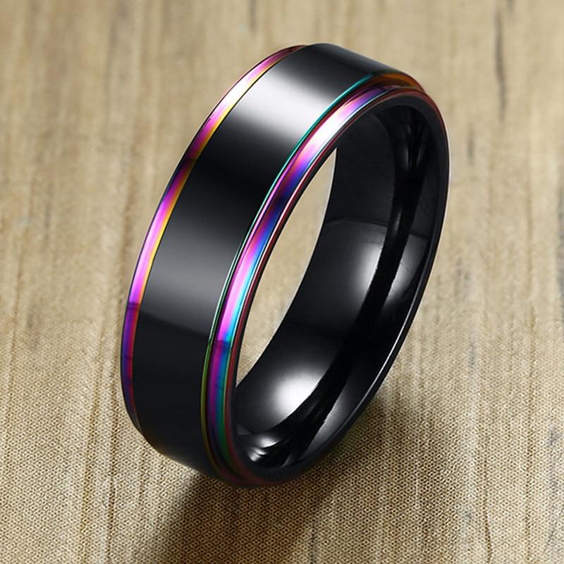 LETAPI крутое мужское Винтажное кольцо в стиле панк из нержавеющей стали Радужное многоцветное свадебное кольцо бренда 6 мм в ширину
